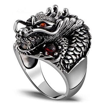Bague Dragon asiatique argent sterling et incrustations en zircon
