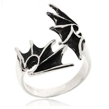 Bague Ailes de Dragon gothique en argent sterling 925