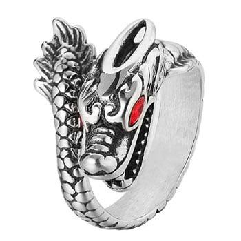 Bague Dragon asiatique acier inoxydable avec yeux rouges en pierre de cristal