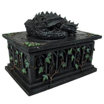 Boîte Dragon noir Fantasy endormi sur un tombeau