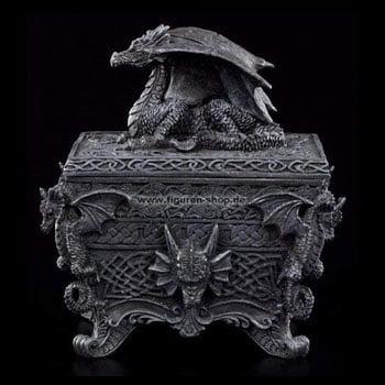 Boîte Dragon Fantasy sur autel sculpté de reliefs draconiques