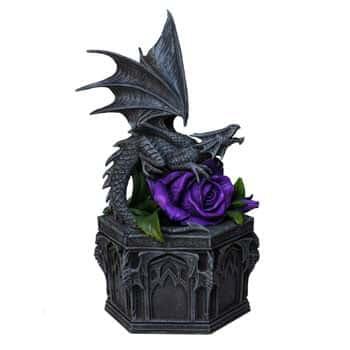 "Boîte Dragon Fantasy sur Rose ""Dragon Beauty"" - Design officiel Anne Stokes"