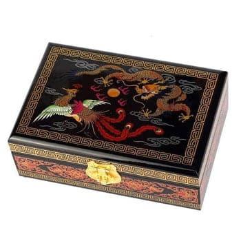 Boîte Dragon Phénix et Dragon asiatique motif impérial traditionnel