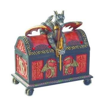 Boîte Dragon sur coffre style médiéval orné de motifs dragons