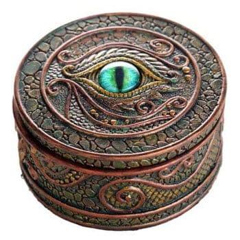 Boîte Œil de Dragon sculptée de motifs d'écailles de dragon