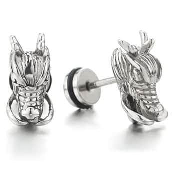 Boucles d'oreilles Tête de Dragon viking en acier inoxydable