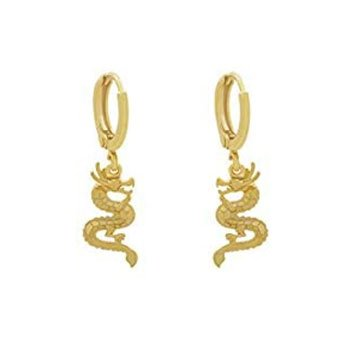 Boucles d'oreilles Dragons asiatiques en acier inoxydable plaqué or