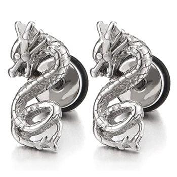 Boucles d'oreilles Dragon viking Jörmungandr en acier inoxydable