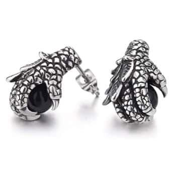 Boucles d'oreilles Griffes de Dragon tenant un onyx noir en acier inoxydable