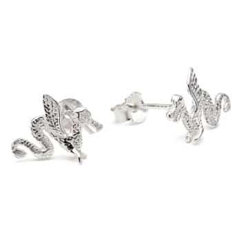 Boucles d'oreilles Dragon stylisé en argent sterling 925