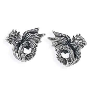 Boucles d'oreilles Dragon gothique finement détaillé en argent sterling 925