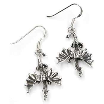 Boucles d'oreilles Dragons gothiques fondant sur leur proie en argent sterling 925