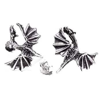 Boucles d'oreilles Dragons Fantasy ailes déployées en argent sterling 925