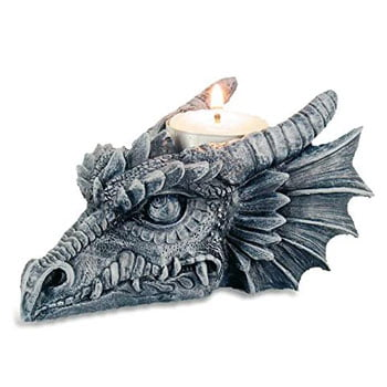 Bougeoir Tête de Dragon gris