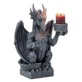 "Bougeoir Dragon Fantasy ""Light Keeper"" sur socle celtique"