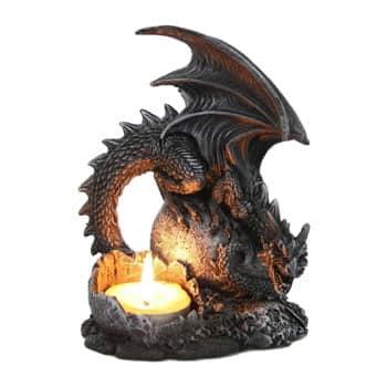 Bougeoir Dragon noir Fantasy protégeant son œuf