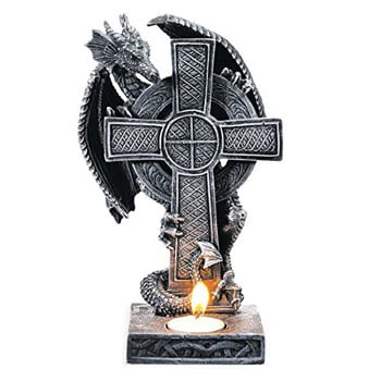 Bougeoir Dragon Fantasy lové autour d'une croix celtique
