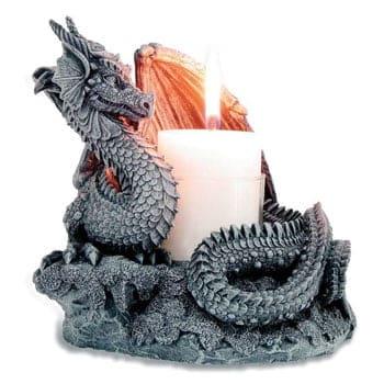 Bougeoir Dragon Fantasy Protecteur de la Flamme Élémentaire