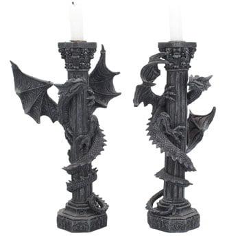 Paire de Bougeoirs Dragon lové autour d'un pilier gothique