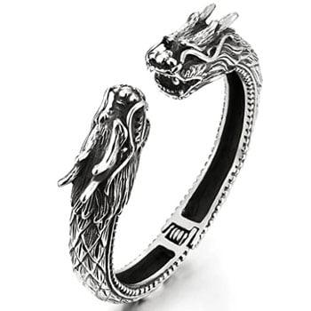 Bracelet Dragons asiatiques détaillés en acier inoxydable avec ouverture à ressorts