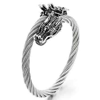 Bracelet Têtes de Dragons chinois sur câble torsadé en acier inoxydable