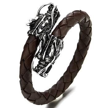 Bracelet Têtes de Dragons chinois en acier inoxydable sur bracelet en cuir tressé brun