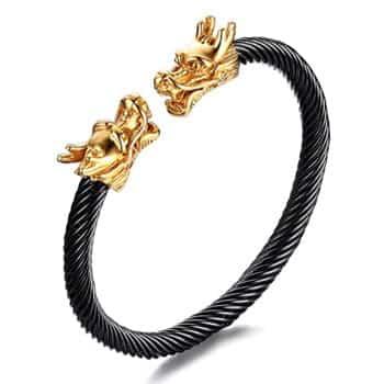Bracelet Têtes de Dragons vikings dorés en acier inoxydable sur bracelet noir torsadé