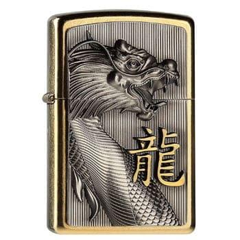 """Briquet Zippo Dragon asiatique """"Golden Dragon"""" - Véritable Zippo"""