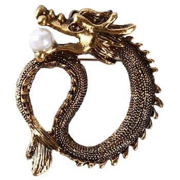 Broche Dragon chinois couleur or tenant une perle dans sa gueule