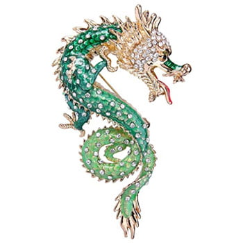 Broche Dragon chinois en cristal autrichien email vert doré