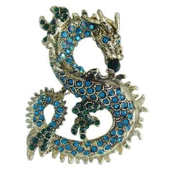 Broche Dragon chinois en cristal et zinc couleur turquoise et vert
