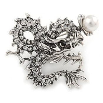 Broche Dragon chinois en cristal transparent plaqué argent avec perle argentée