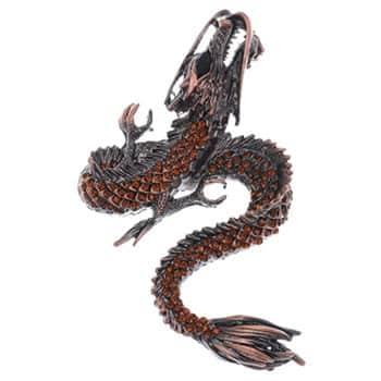 Broche Dragon chinois couleur bronze rehaussé de strass couleur topaze