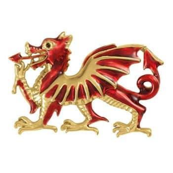 Broche Dragon emblème du Pays de Galles en émail rouge et plaqué or