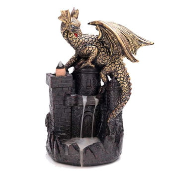 Brûleur d'Encens Dragon sur château médiéval avec 10 cônes d'encens