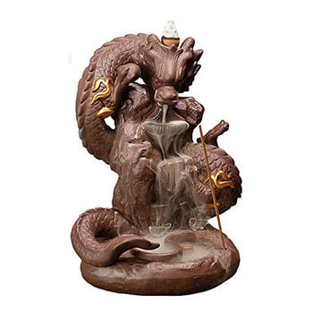 Brûleur d'Encens Dragon asiatique sur rocher avec 20 cônes d'encens