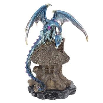 Brûleur d'Encens Dragon Fantasy protégeant une maison dans un tronc d'arbre