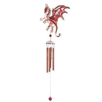 Carillon Dragon Fantasy stylisé rose et rouge