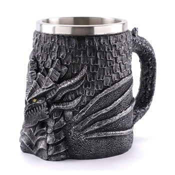 Grande Chope Dragon Viking en relief et design 3D 500 ml