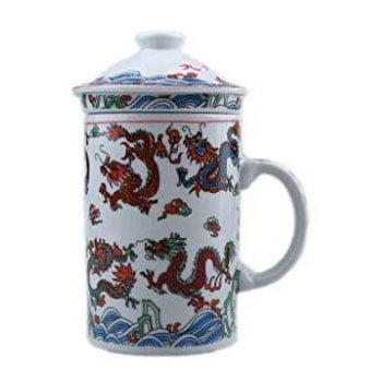 Tasse à thé Neuf Dragons chinois avec infuseur