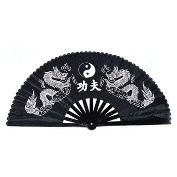Éventail chinois en bambou 2 dragons Yin & Yang noir et blanc