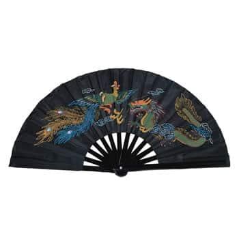 Éventail Dragon & Phénix chinois en bambou - Design traditionnel en couleurs