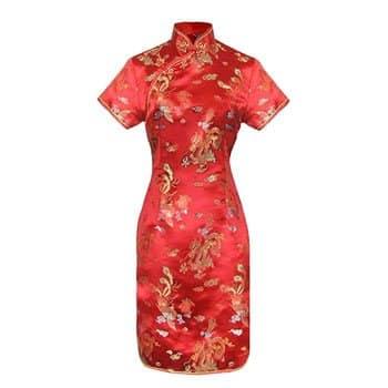 Robe traditionnelle chinoise en damas Dragon et Phénix