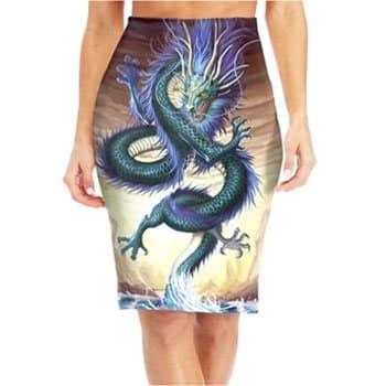 Jupe crayon Dragon asiatique intégralement imprimée