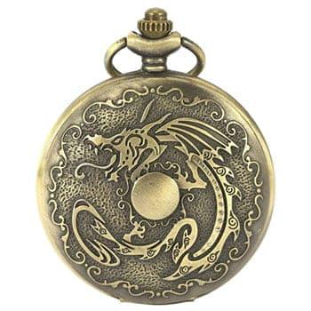 Montre de poche gousset Dragon chinois couleur bronze vieilli