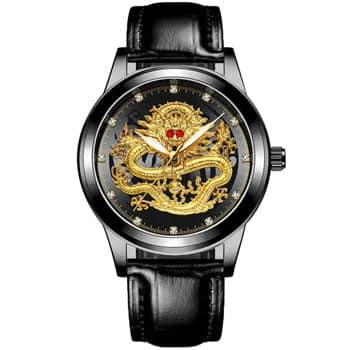 Montre Dragon chinois à quartz analogique avec bracelet cuir