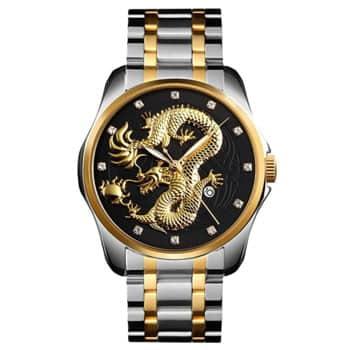 Montre Dragon chinois à quartz analogique avec bracelet acier inoxydable argent doré