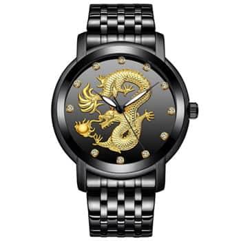 Montre Dragon chinois à quartz analogique en acier inoxydable