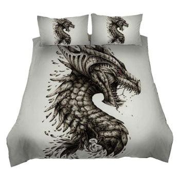 Parure de lit Dragon 3 pièces Tête de Dragon Fantasy