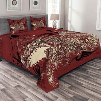 Parure de lit Dragon 3 pièces Dragon japonais ivoire et rubis